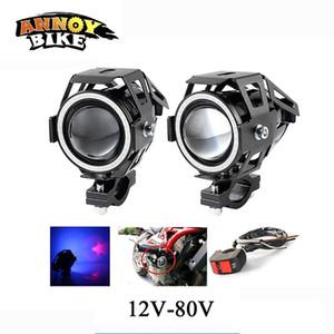 2PCS 12V-80V Angel Eye Motorcycle Light Electric Headlamp LED Refit A Large Lamp Super Bright Fog Lamps U7 Laser LED HeadLights