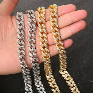 DHL Shipping Classic Full Diamond Necklace Bling Jewelry for Men Women Iced Out Chain Miami Curb Cuban Link Chain Hop Hip Necklaces B109F