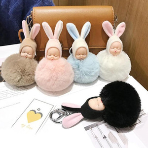 30pcs / Lot Plus Plush Dollys Keyches Lovely Rabbit Ear Sleeping Baby Key Ring