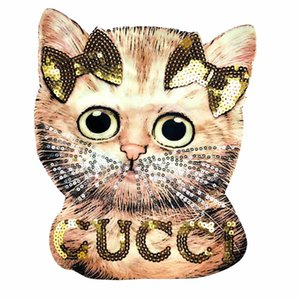 Paillette cat Applique patches DIY Embroidery Sequin Patches for clothing Sew on Apply to Handmade T-shirt and Denim Jacket