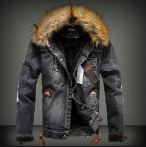 Winter Mens Designer Thick Jackets Fashion Long Sleeve Coats with Fur Luxury Mens Warm Jeans Outwear