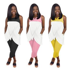 Mulheres Painéis De duas partes Outfits Moda mangas gola Fatos Novo Estilo Mulheres Dois conjuntos de peças