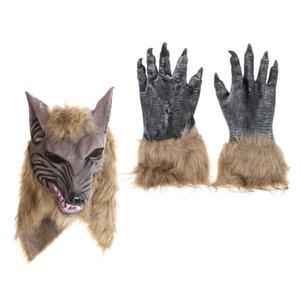 2pcs Wolf Werewolf Head Mask перчатки платье Set Halloween Party Необычные Хеллоуин костюм Cosplay аксессуары