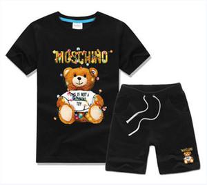 New Spring Luxury Designer Baby Boy's beach t-shirt Pants Two-piec 3-7 years olde Suit Kids Brand Children's 2pcs Cotton Clothing Sets M001