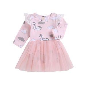 Emmababy Hot Lovely Toddler Baby Girl dress Cloud Swan Print Abito da ballo manica lunga Mini abito natale