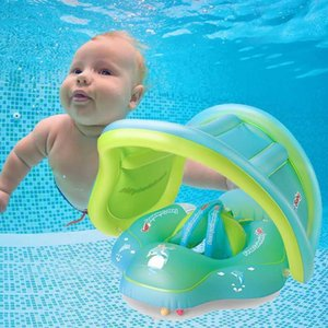 Baby Swimming Ring Lying Ring Inflatable Thick Environmental Protection PVC Armpit With Sunshade Baby Life Buoy Cute
