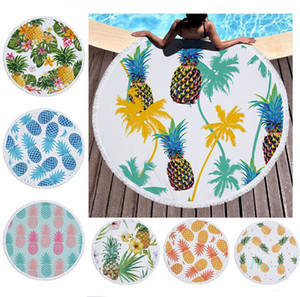Pineapple Beach Towel Fruits Plants Floral Printed Round Beach Blanket Women Tassels Bath Towel Home Bed Sofa Mats Pads Carpet A6403