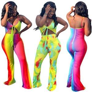 Womens Designer Contraste Couleur Contraste Tenues Mode couleur barboteuses Sexy Backless Top Casual Pantalon large jambe femelles Vêtements
