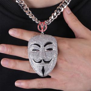 Fashion-Luxury oro bianco completa zirconi Mens Vendetta Maschio Leading Role maschera Ritratto di torsione della catena monili della collana di diamante di Bling