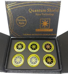 Escudo Ciência quântica Anti Radiação Etiqueta Do Telefone Móvel de Prata EMF Ouro EMR Proteção Nano Etiqueta com Caixa de Presente