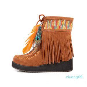 personalizados privada cunhas quintal enorme borla botas botas de tornozelo pena bordado mulheres Z09