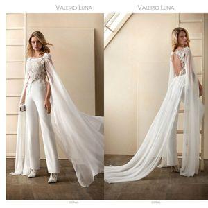 2020 Wedding Dress macacões com filme Jewel Neck Floral Appliqued mangas curtas vestidos de noiva Open Back Sash tornozelo comprimento Abiti Da Sposa