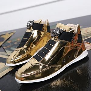 Weweya Bling Paillette Glitter Mann-beiläufige Schuh-Leder High Top Elastic Gold-Turnschuh-Mann-Leopard-Kopf-Patent Maennerschuhe
