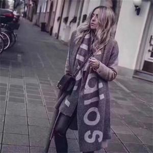 Nouvelle écharpe pour l'automne et l'hiver en Amérique en 2018, le commerce extérieur Lettre Pure Color Logo écharpe, cachemire comme deux écharpe Châle T191213