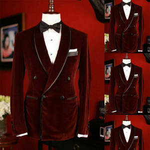 Burgundy Mens Suits Double Breasted Slim Fit Bridegroom Tuxedos For Men One Pieces Wedding Suit Blazer Formal Prom Jackets Corduroy