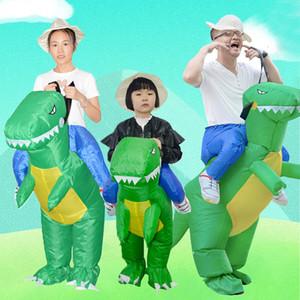 Cadılar Bayramı Kostüm Şişme Dinozor T-Rex Kostüm Tema Parti Giydirme Blow Up Kostüm Yetişkin / Çocuk Olay Parti Malzemeleri