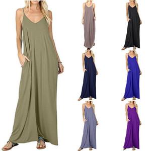 Vestido camisola Falda larga Mameluco Color sólido Bolsillo Falda plisada Cintura media Sling Chaleco de bolsillo liso 4