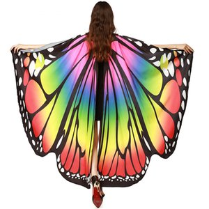 Colorful Big Butterfly Wings Halloween Belly Dance Cosplay Sexy Mujeres Wing Music Festival Moda Verano Accesorios 2019 Nuevo