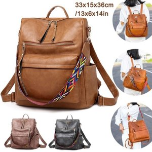 Retro 2020 New Female Backpack Pu Large Capcity Ladies Travel Bag Women Boston Bag Girls School Backpack