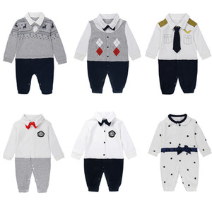 8 Styles Kids Clothing Baby Boy Gentleman Rompers Newborn Baby Long Sleeved Jumpsuits Infant Onesies Brand Toddler Clothes C2547