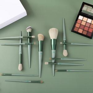 13pcs Set green Professional Makeup Brushes Portable Full Cosmetic Make up Brushes Tool Foundation Eyeshadow Lip brush