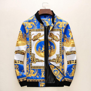 New Fashion Jacket Windbreaker Long Sleeve Mens Jackets Clothing Zipper pocket With Animal Pattern Plus Size Clothes M-3XL