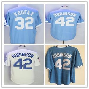 남성 재키 (42) 로빈슨 브루클린 유니폼 야구 블루 화이트 블랙 Sticthed 샌디 쿠팩스 (32) 뉴저지 좋은 크기 S-3XL을