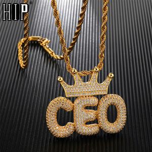 Hip Hop Glacé Couronne Bubble lettres nom personnalisé Zircon cubique chaîne Pendentifs Colliers pour hommes Bijoux
