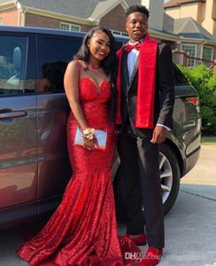 2K19 Prom Dresses a sirena con paillettes rosso scintillante Abiti lunghi da sera africani con sweep Sheer Neck Zipper Torna Maid of Honor Dress for Bride