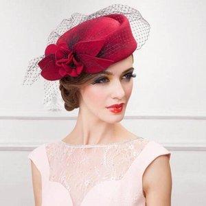 Womens Hat Cap Fedoras Dress Fascinator Wool Felt Pillbox Hat Party Wedding Bow Veil Hat T200508