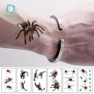 Rocooart 3D Araignée Scorpion Tatoo temporaire Autocollants tatouage pour le corps Halloween Tattoo Art Faux Tatuajes Joke Tatouage Temporaire