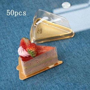 50pcs desechables de plástico Cake Box Triángulo Ronda Luna torta de la bandeja de embalaje de regalo bebé ducha partido cumpleaños boda caja Para