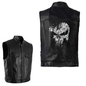 PU Vests Men Leather Skull Hip Hop Sleeveless Jackets Punk Rock Waistcoat Streetwear Outerwear Biker Motorcycle Locomotive Coats
