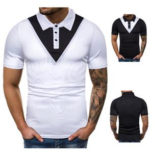 Remiendo del color para hombre de diseño polos de la manera delgada de la solapa de manga corta cuello Polos tapas ocasionales del verano del Mens