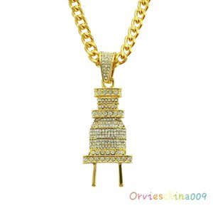 2020 designer Halloween decorations burst funds Hip Hop fashion men full of diamond pendant necklace exaggerated plug pendant jewelry