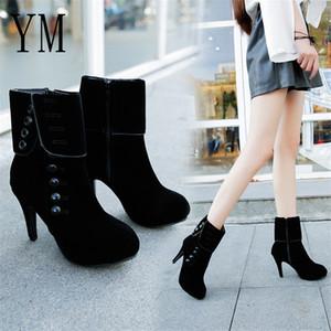 2019 Женская мода Ботильоны Высокие каблуки моды красные ботинки женщина платформы Flock Buckle Boots Женская обувь Женский Plue 42