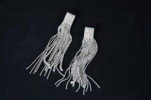 Rhinestone Cor nupcial Mulheres brincos senhoras Dangle Acessório Gota de cristal de prata Sparkling longo jóia do casamento Para borla G Juqv