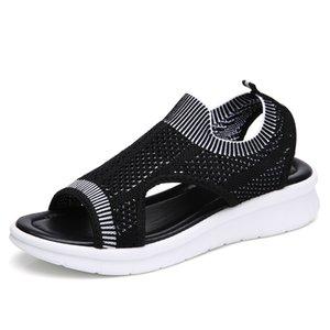 Sandalias de mujer 2019 Zapatos casuales femeninos Mujeres de verano Wedge Comfort Sandals Ladies Flat Slingback Sandalias planas Mujeres Sandalias Estilo de viaje
