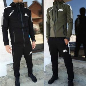 Homens carta Treino conjunto sólido pedaço de cor 2 calças compridas manga da jaqueta com painéis de esportes outono-inverno roupa casual atleta terno 2436