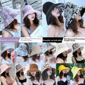 Дамы Лето Солнце Шляпа Дискеты Хлопчатобумажные Шляпы Повседневный Способ Путешествовать Широкополые Шляпы Складные Шляпы Цветочный Принт Пляжные Шапки Для Женщин