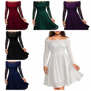 Femme Robes 2019 manches longues Slash Neck Mariage Party Wear Casual A-ligne Sexy Rouge Noir Blanc Dentelle Robe Plus La Taille Robes De Maternité