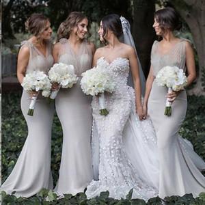 Русалка V-образным вырезом спинки развертки поезд серый длинные платья невесты изображения Южная Африка вечерние платья 2018 дешевые vestidos De dama de honor