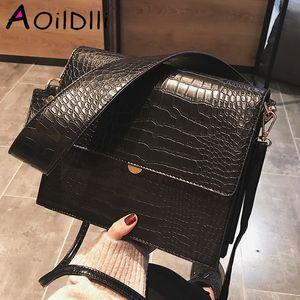 Mode Crocodile Femmes Shouder Sacs à main large sangle Pu Sac bandoulière en cuir à rabat femmes porte-monnaie