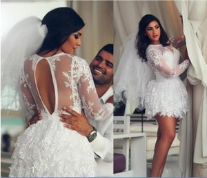 2020 Arabic Short Lace Beach Wedding Dresses Long Sleeves Juniors Sweet 15 Graduation Homecoming Cocktail Party Dress Plus Size Custom Made