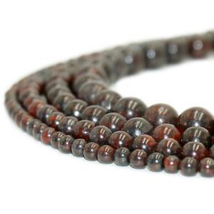 حبات الجاسبر الطبيعية من حبات الجاسبر ذات الأحجار الكريمة المستديرة الحمراء لصنع المجوهرات سوارًا 1 حبلا 15 بوصة 4-10 مم