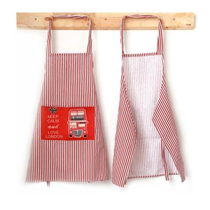 Fashion Linen Stripe Apron With Pocket Cute Baking Cooking Bib Dress Household 72XF