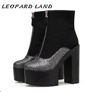 Stivali LEOPARD TERRA Autunno Inverno nuovo round testa Super High-tacco delle donne sexy del locale notturno Lotta Spell colori Stivali