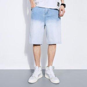 Couleur Jeans Longueur genou rue Pantalons Jeans droites mi taille Zipper Pantalon Fly With Designer Pocket Mens Gradient