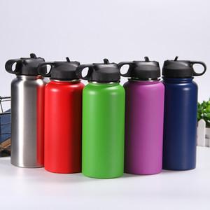 prova de 32 oz Flask Leak 32 onças de aço inoxidável Tumbler com palha de vácuo Lid largas Garrafa Boca Exterior Água Caneca do curso Sports garrafas de bebidas