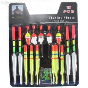 Оптово-15шт / комплект разных размеров Пластиковый вертикальный буй Рыболовные приманки Поплавки Bobbers Slip Drift Tube Indicator 6018